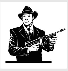 Gangster with thompson submachine gun vector