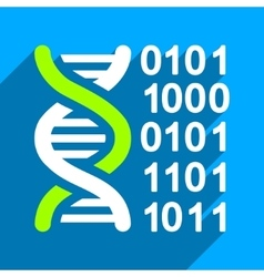 Genome Code Flat Square Icon with Long Shadow vector