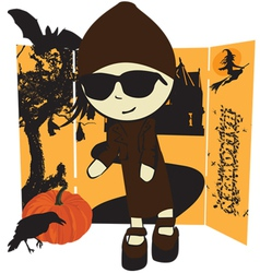 Girl in Halloween vector