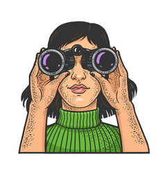 girl looking through binoculars sketch vector image