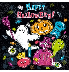 Halloween greeting card with ghost tombstone vector