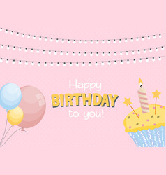 Happy birthday card baner background with cak vector