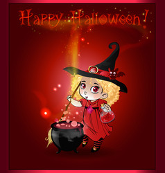 happy halloween card with little witch girl with vector image