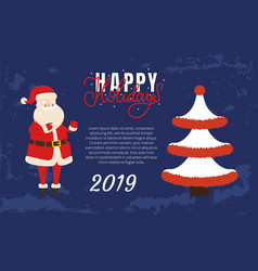 happy holidays merry christmas happy new year 2019 vector image