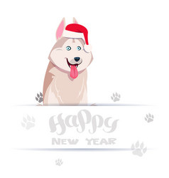 happy new year card with cute husky dog in santa vector image