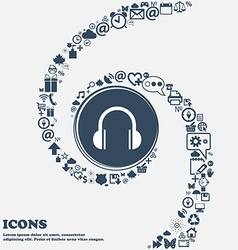 headphones icon in the center Around the many vector image