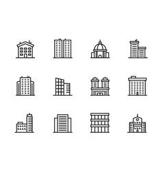 House and building icon simple symbols set vector