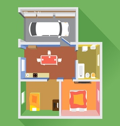 House in section with a car in garage vector
