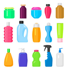 household cleaning tidying up housework bottles vector image