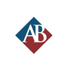 Initial ab rhombus logo design vector