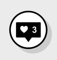 like and comment sign flat black icon in vector image