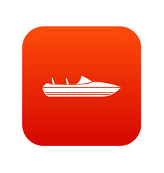 Little powerboat icon digital red vector