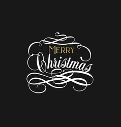 merry christmas hand lettering in gold and white vector image