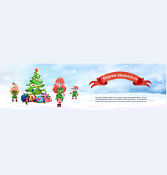 merry christmas horizontal banner cute elfs and vector image