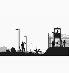Military base black color silhouette on white vector