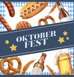 Oktoberfest frame with cereal toast sausage bread vector