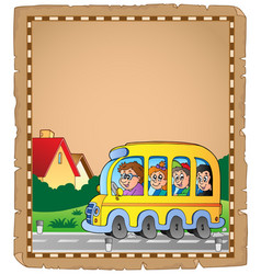 parchment with school bus 1 vector image