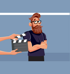 Professional male actor performing on set cartoon vector