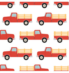 red pickup seamless pattern isolated on white vector image