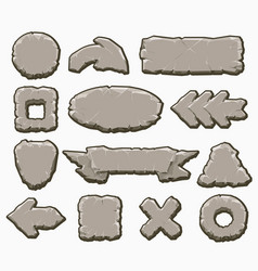 Rock cartoon interface buttons set vector
