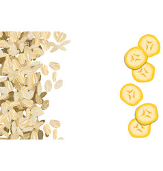 Rolled oats with bananas background vector