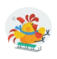 Rooster Bird Skate on Sledge Cock in Santa s Hat vector image