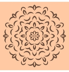 Round brown flower pattern on beige backround vector