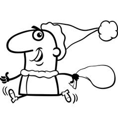 running santa claus coloring page vector image