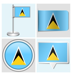 Saint Lucia flag - sticker button label vector image vector image