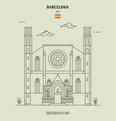 santa maria del mar in barcelona spain vector image
