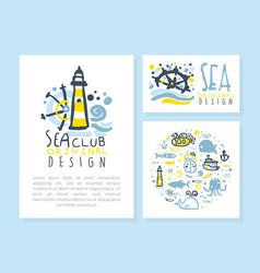 sea club original design card templates set vector image