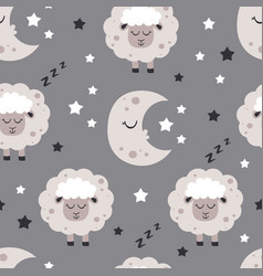 Seamless pattern with moon and baby sheep vector