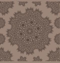 seamless pattern with stylized flowers mandala vector image