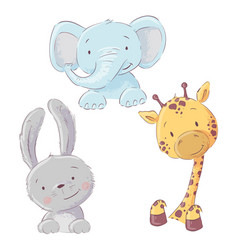 Set baelephant bunny and giraffe cartoon vector
