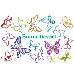 Set butterflies contour pictograms vector