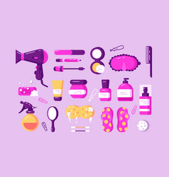 Set different body care accessories vector