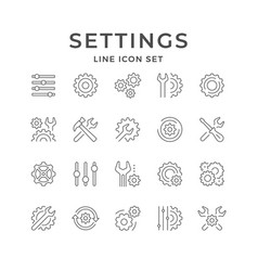 Set line icons settings vector