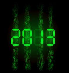 set of digital numbers - twenty thirteen for vector image vector image