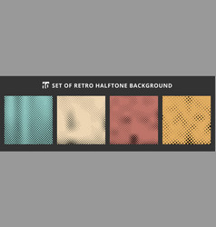 set of halftone retro backgrounds abstract dotted vector image