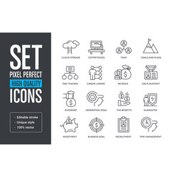 Set pixel perfect high quality lines icons vector