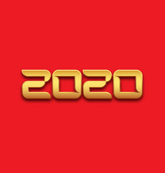 shiny gold sign number 2020 on red background vector image