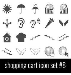 shopping cart icon set 8 gray icons on white vector image
