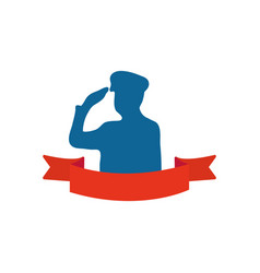 Silhouette patriotic soldier saluting and vector
