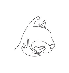 single continuous line drawing cute kitten cat vector image