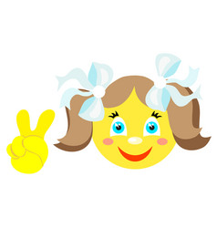 smiley girl with victoria gesture v vector image