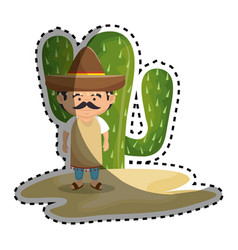 sticker background cactus with man mexican vector image