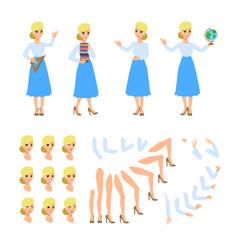 Teacher flat character set fun vector