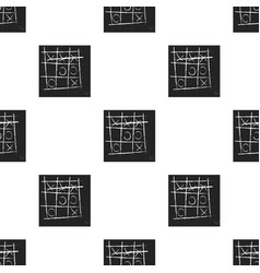 Tic-tac-toe icon in black style isolated on white vector