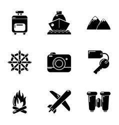 Tourist way icons set simple style vector