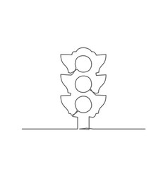 traffic light one line drawing vector image